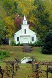 Iglesia del país con el cenador de uva Foto de archivo libre de regalías