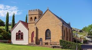 Iglesia del pueblo en el museo marítimo Australia de la colina de la asta de bandera fotografía de archivo