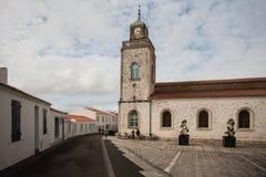 Iglesia del puerto Joinville en el d'Yeu de Ile, Vendee, Francia Imagen de archivo