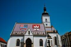 Iglesia del ` s de St Mark en Zagreb, Croacia Fotografía de archivo