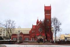 Iglesia del ` s de St Simon y del St Alain en Minsk Fotos de archivo