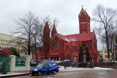 Iglesia del ` s de St Simon y del St Alain en Minsk Fotos de archivo libres de regalías