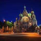 Iglesia del salvador en la sangre Spilled en la noche adentro Foto de archivo