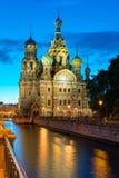 Iglesia del salvador en la sangre Spilled en la noche en St Petersburg Fotos de archivo