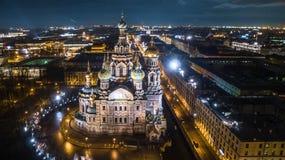 Iglesia del salvador en sangre derramada en la opinión aérea de St Petersburg Imagen de archivo libre de regalías