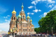 Iglesia del salvador en sangre derramada en St Petersburg foto de archivo libre de regalías