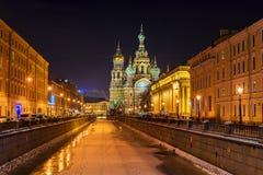 Iglesia del salvador en sangre derramada en St Petersburg Fotos de archivo