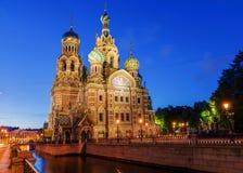 Iglesia del salvador en sangre derramada en St Petersburg, Rusia Foto de archivo