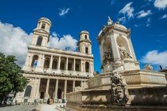 Iglesia del santo Sulpice en París Imagen de archivo libre de regalías