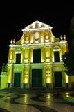Iglesia del St. Dominic en Macau en la noche. Fotografía de archivo