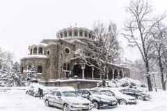 Iglesia del St Nedelya cubierta con nieve Fotos de archivo