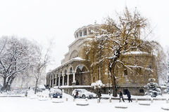Iglesia del St Nedelya en el invierno Fotos de archivo
