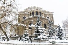 Iglesia del St Nedelya en el invierno Imágenes de archivo libres de regalías