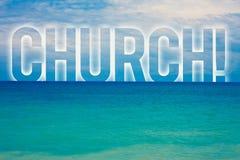 Iglesia del texto de la escritura de la palabra Concepto del negocio para el wa azul de la playa del templo de la sinagoga de la  Imágenes de archivo libres de regalías