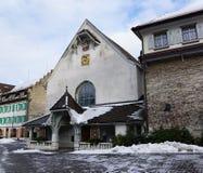 Iglesia en bulle en gruyere en Suiza del sur Foto de archivo libre de regalías