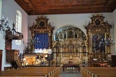 Iglesia en bulle en gruyere en Suiza del sur Imágenes de archivo libres de regalías