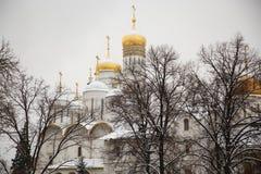 Iglesia en catedral ortodoxa del invierno en invierno foto de archivo