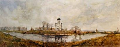 Iglesia en el Nerl ilustración del vector