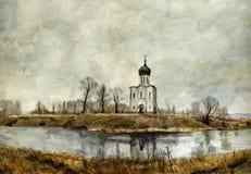 Iglesia en el Nerl. Acuarela. stock de ilustración
