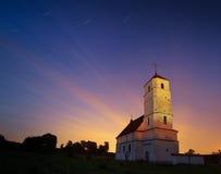 Iglesia en fondo del skyblue con las cruces de oro, aisladas Foto de archivo libre de regalías