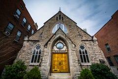 Iglesia en la colina de Bolton, Baltimore, Maryland fotografía de archivo