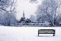 Iglesia en la nieve Fotografía de archivo libre de regalías