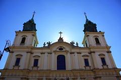 Iglesia en la puesta del sol imagen de archivo