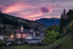 Iglesia en la puesta del sol Foto de archivo libre de regalías