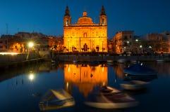 Iglesia en La Valeta, Malta Foto de archivo libre de regalías