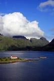 Iglesia en las islas de Lofoten Fotografía de archivo