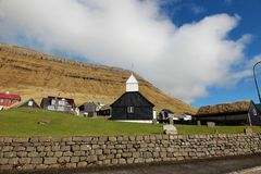 Iglesia en los Faroe Island Foto de archivo libre de regalías