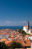Iglesia en Piran Imagenes de archivo