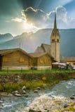 Iglesia en Pozza di Fassa Imagen de archivo