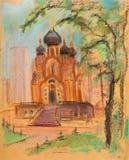 Iglesia en el verano stock de ilustración