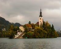Iglesia en una isla del lago sangrada. Eslovenia. Imagenes de archivo