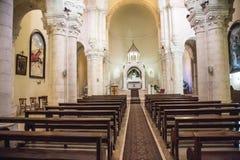 Iglesia en vía Dolorosa. Cuarta parada de Jesús - una reunión con la madre Fotos de archivo