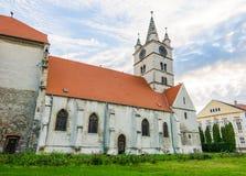 Iglesia evangélica de Sebes en la región de Transilvania de Rumania Foto de archivo
