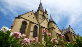 Iglesia evangélica gótica de Sibiu Fotos de archivo libres de regalías
