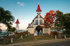 Iglesia famosa en el malheureux del casquillo, Mauricio imagen de archivo