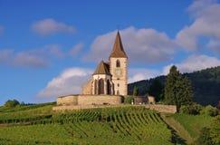 Iglesia fortificada Hunawihr en Alsacia Fotografía de archivo