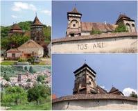 Iglesia fortificada - Valea Viilor (collage) Imagen de archivo libre de regalías