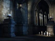 Iglesia gótica con las velas Foto de archivo libre de regalías