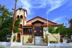 Iglesia Grecia del pueblo de Athos Fotografía de archivo