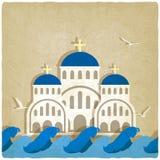 Iglesia griega cerca del mar azul stock de ilustración