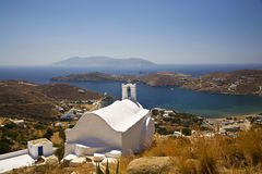 Iglesia griega de la isla del IOS, Grecia Fotografía de archivo libre de regalías