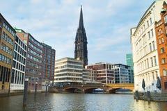 Iglesia Hamburgo Alemania de San Nicolás Fotografía de archivo