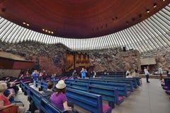 Iglesia Helsinki de la roca de Temppeliaukio Kirkko Foto de archivo libre de regalías
