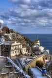 Iglesia hermosa del invierno Fotos de archivo