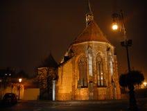 Iglesia iluminada en Praga en República Checa Foto de archivo libre de regalías