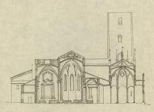 Iglesia italiana en Chieri stock de ilustración